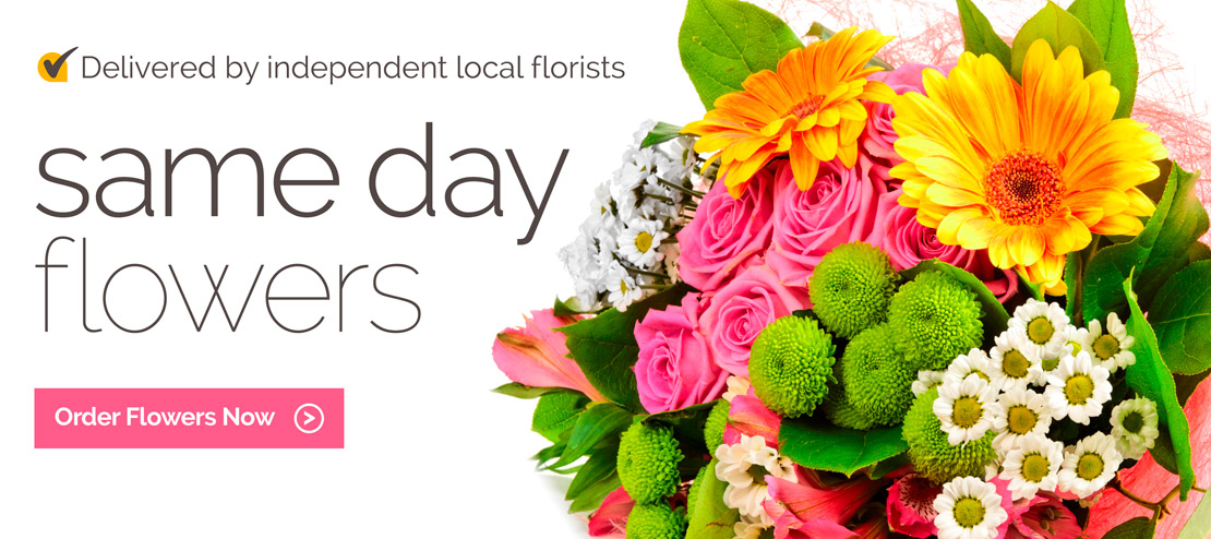 Same day flowers delivered by independent local florists.